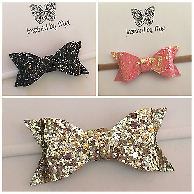 Headband Baby Girl Toddler Newborn Glitter Bow Nylon Hair Band Accessory Leather