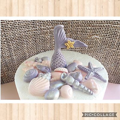 Sea Shells Fish Tail Mermaid Tail BEACH party Cake/Cupcake Toppers   starfish