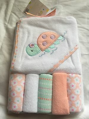 New Baby Hooded Towel & 5 Washcloth Gift Set Girls Peach Shower Turtle ��Pink