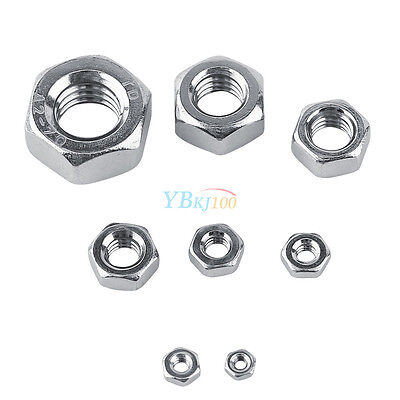 50/100pcs M1.6-M8 304 Stainless Steel Threaded Hex Hexagonal Nuts Fasteners Set