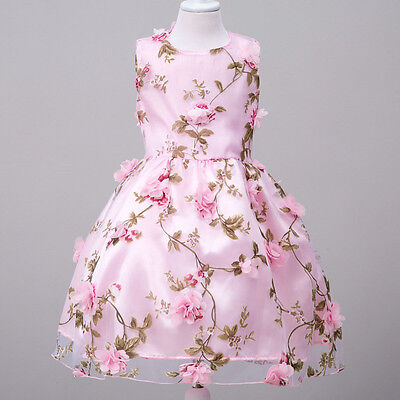Girls Bridesmaid Flower Dress Sleeveless Kids Princess Wedding Formal Party Gown