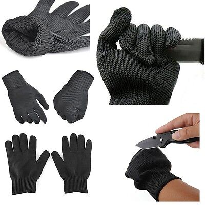 Black Stainless Steel Wire Safety Works Anti-Slash Cut Proof Resistance Gloves