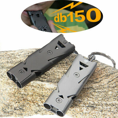 150 Decibel Double Tube Stainless Emergency Survival SOS Whistle Outdoor Hiking