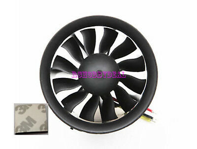 70mm Ducted Fan 12 Blades EDF Motor kv2600 Tested Balance for Aircraft 3M Tape