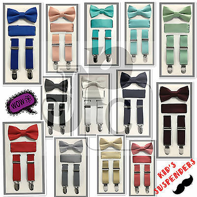 New Kid Boy's 3 pieces Clip Suspender Bow tie & Pocket Square Hankie Prom Formal