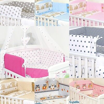 9 Pcs Cot&cotbed Bedding Set Pillow Duvet Bumper Canopy+Holder Baby Boy / Girl