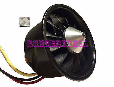 64mm Ducted Fan 12 Blades EDF W/ Poweful Electro-motor kv3500 for RC Aircraft 3M