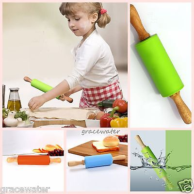 New Non-stick Silicone Wooden Rolling Pin Pastry Dough Roller Pastry Tool Baking