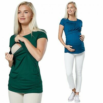 Happy Mama. Women's Maternity Nursing Double Layer T-shirt Round Neckline. 136p