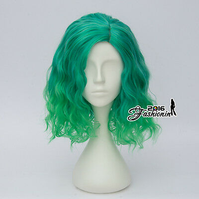35CM Synthetic Mixed Green Curly Party Lolita Hair Heat Resistant Cosplay Wig