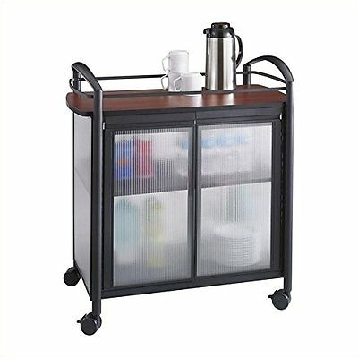 Safco Products 8966BL Impromptu Refreshment Hospitality Cart, Cherry Top/Black