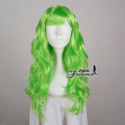 Long 60cm Party Wig Cosplay Grass Green Women Anime Hair Curly Ladies Full Wig