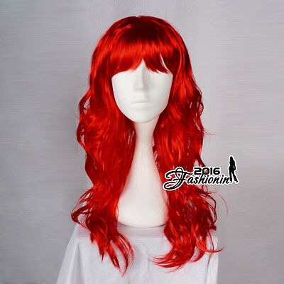 Curly Ladies Full Wig Women Anime Hair Red Long 60cm Cosplay Party Wig