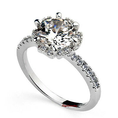 Silver Two Carat Brilliant Cut Engagement Ring Made With Swarovski Crystal R193