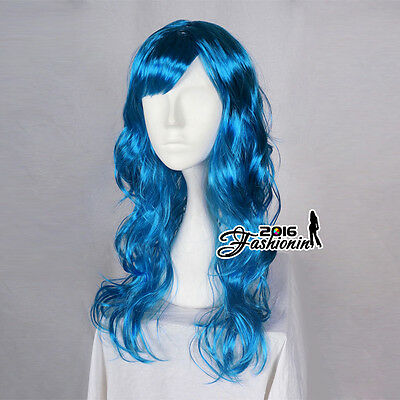 Curly Blue Women Anime Hair Curly Ladies Full Wig Long 60cm Cosplay Party Wig