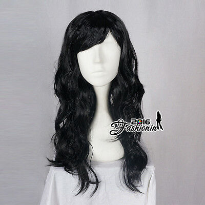 Women Girls Black Curly Long 60cm Anime Hair Full Hallowee Cosplay Party Wig