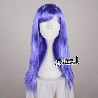 Straight Lilac Fancy Long 60cm Ladies Wig Anime Hair Cosplay Women Party Wig