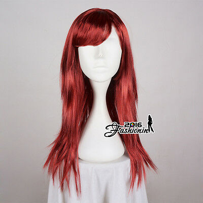 New Dark Red Straight Long 60cm Ladies Wig Anime Hair Cosplay Women Party Wig
