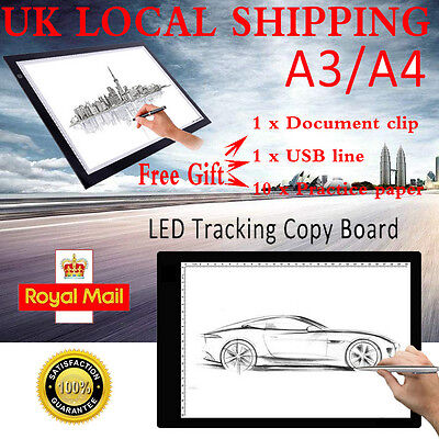 Lage A3 A4 LED Copy Board Craft Tracing Drawing Stencil Table Pad Light Box UK