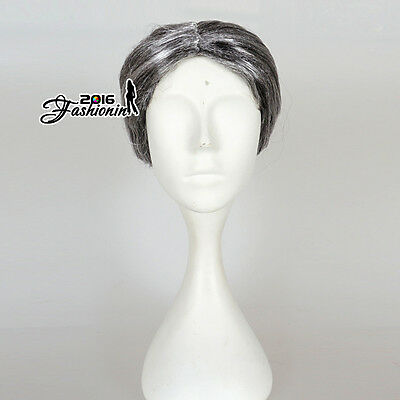 Grandmother With Bun Gray Curly New Style Short Cosplay Grandma Old Lady Wig