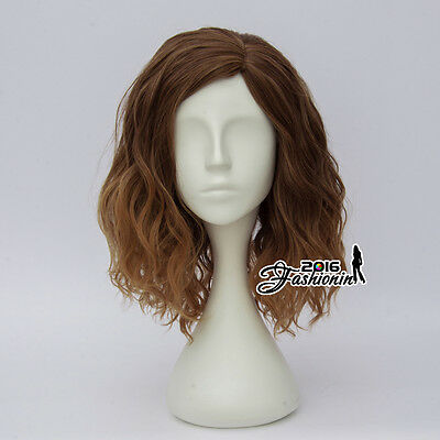 35CM Lolita Style Women Girls Mixed Brown Curly Hair Cosplay Wig Heat Resistant