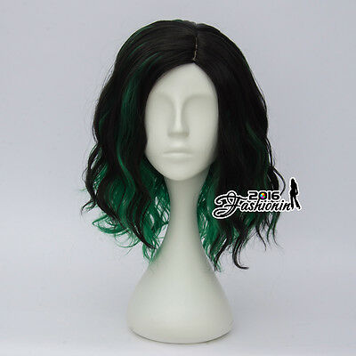 35CM Black Mixed Green Curly Women Anime Cosplay Heat Resistant Short Lolita Wig
