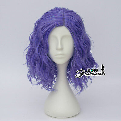 Short Blue Purple Lolita Style 35CM Curly Women Grils Anime Cosplay Full Wigs