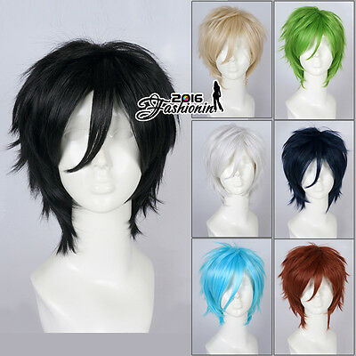 30CM Short Straight Unisex 8 Colors Fancy Party Hair Heat Resistant Cosplay Wig