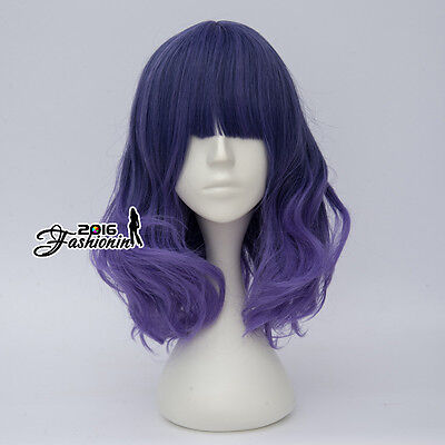 40CM Lolita Mixed Ash Purple Ombre Curly Women Fashion Party Hair Cosplay Wig