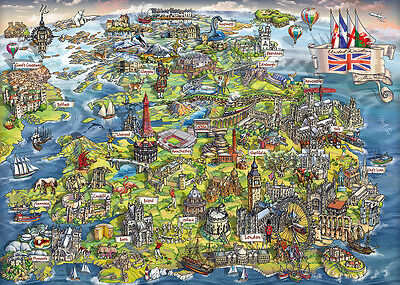 Gibsons Beautiful Britain  1000 Piece Map Jigsaw Puzzle - G7080