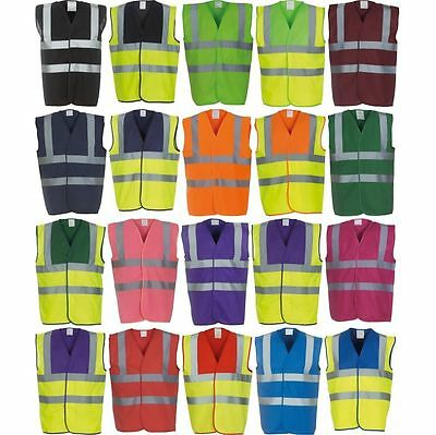 Hi Vis High Viz Visibility Vest Waistcoat Safety Jacket Choice 24 Colours NEW IN