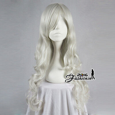 70CM Lolita Silver White Long Curly Party Women Hair Cosplay Wig Heat Resistant