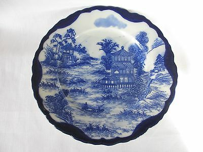 Rare Signed Antique Chinese Flow Blue Porcelain Plate Boat People Water Pagoda