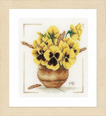 Yellow Violets  (Evenweave) :  Lanarte Counted Cross Stitch Kit - PN0164071
