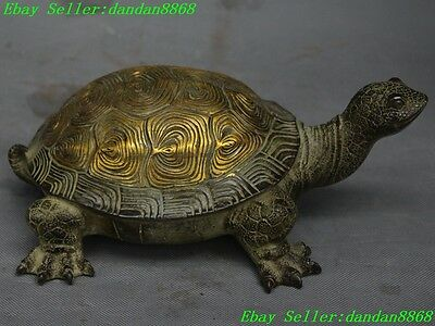 Old Chinese bronze gilt fengshui animal longevity tortoise turtle Lucky statue
