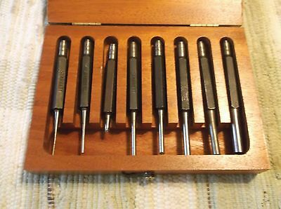 Starrett Drive Pin Punches Set Of 8  In Wooden  Case