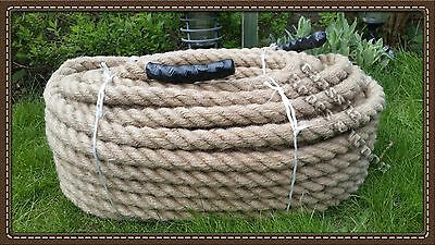 36mm thick 100% NATURAL MANILA ROPE Decking, Garden, Boating Tug of war Climbing
