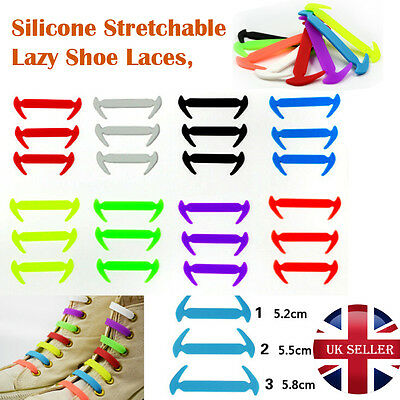 No Tie Elastic Silicone Rubber Laces Colored Trainers Snickers Adults Kids 12/16