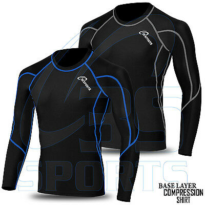Mens Compression Base layer Shirt long Sleeve Top Long tight thermal sports wear