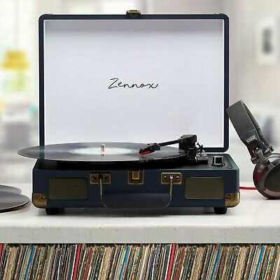 Zennox Briefcase Record Player Turntable 3 Speed Portable Vinyl Suitcase USB NEW