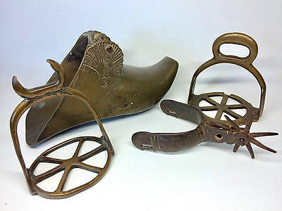 Antique German or French lot BRONZE spurs stirrup
