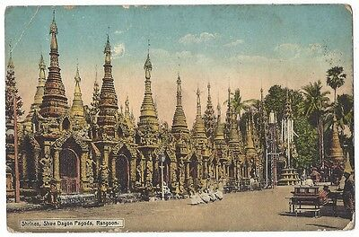 BURMA Shrines, Shwe Dagon Pagoda, Rangoon, Old Postcard Unused