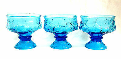 3 VTG Textured DAISY Floral Turquoise PRESSED Glass Dessert Pedestal Dishes RARE