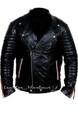 Mens Retro Style Zipped Biker Soft Black Casual Real Leather Jacket