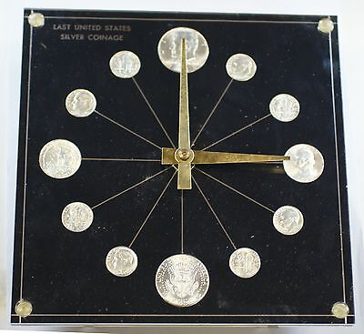 1964 P&D Silver Halves, Quarters and Dimes in Collectible Desk Coin Clock