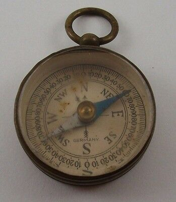 Vtg Brass Wwii Era Compass Made In Germany With Ring