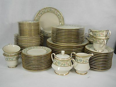 NORITAKE china MIYOSHI pattern 87-pc SET SERVICE for TWELVE (12) with Cr and Su