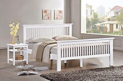 Lavish Buckingham Wooden Bed Frame In Oak & White Finish With Mattress Options