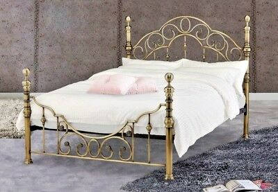 Lavish Florence Brass Effect Bed Frame In Double & King With Mattress Options