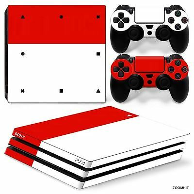 PS4 Pro Playstation 4 Console Skin Decal Sticker Red White + 2 Controller Skins
